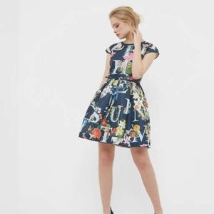 Ted Baker Lusara A-Z Ditzy Skater Dress Navy